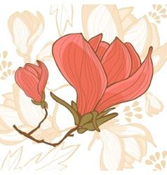 Beautiful magnolia flower vector