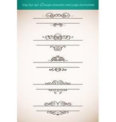 Design elements and page decorations set vector image vector image