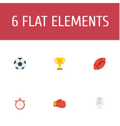 Flat icons american football ball trophy and vector