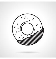 Round cookie black line icon vector image