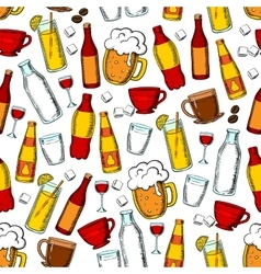 Seamless drinks and beverages pattern background vector image