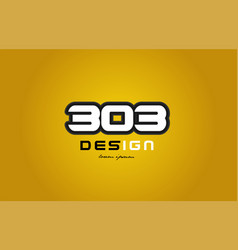 303 number numeral digit white on yellow vector