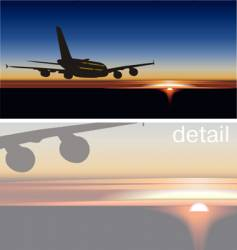 A-380 jet silhouette at sunrise vector