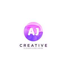 Aj initial logo with colorful circle template vector