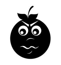 Angry orange character kawaii style vector