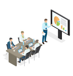 Assembly and speech of top managers flat theme vector