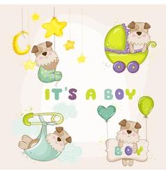 Baby dog set - for shower card vector