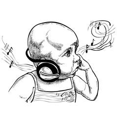 Baby with headphones vector