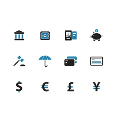 Banking duotone icons on white background vector