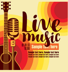 Banner for concert live music with guitar and mic vector