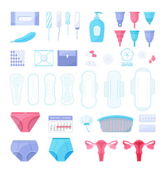 Big set menstruation theme different sanitary vector