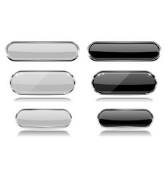 Black and white oval glass buttons with metal vector