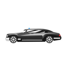 Black luxury car with blue flasher siren business vector