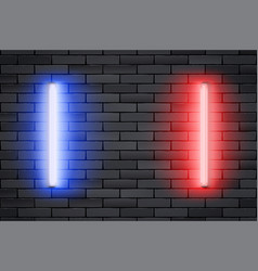 Blue and red neon lamps on black brick wall vector