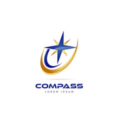 blue gold compass logo symbol icon vector image