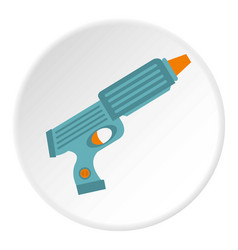 Blue plastic water gun icon circle vector