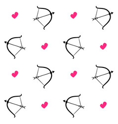 bows and arrows with pink heart vector image