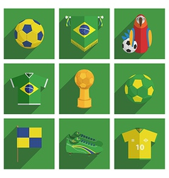 brazil soccer icons vector image