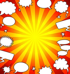 Bright comics speech bubbles frame background vector