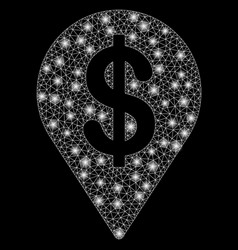 Bright mesh 2d dollar map pointer with flash spots vector