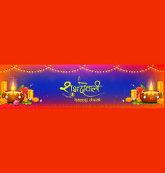 Burning diya on diwali holiday background for vector