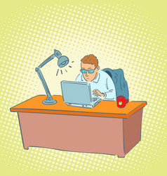 businessman in the office working on a laptop vector image