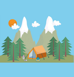 camping tent backpack lantern mountains vacations vector image