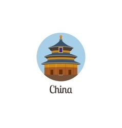 China landmark isolated round icon vector image