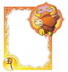 chinese horoscope frame series bull vector image