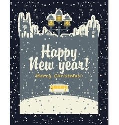 Christmas card with an old tram vector