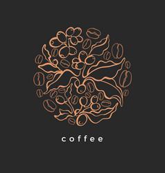 Coffee bean symbol in circle art deco design vector