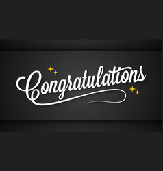 congratulation vintage sign on black message vector image