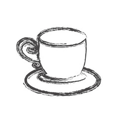 Contour cup with plate icon vector