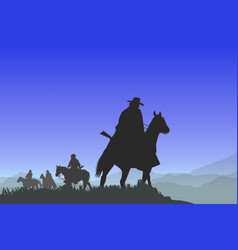 cowboys on the mountain pass vector image