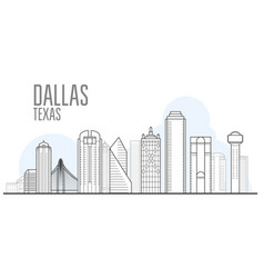 dallas city skyline - cityscape dallas texas vector image