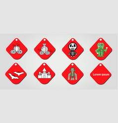 design isolated on red label for halloween vector image