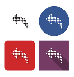 Dotted icon left curved arrow in four variants vector