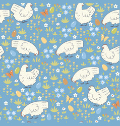 easter seamless pattern with chickens vector image