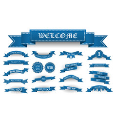 Embroidered blue vintage ribbons and stumps with vector