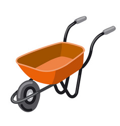 Empty red wheelbarrow vector