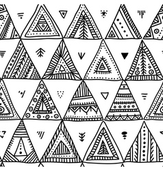 ethnic triangles seamless pattern vector image