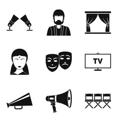 Feature film icons set simple style vector