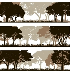 Forest silhouettes lanscapes vector