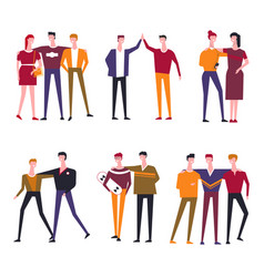 Friends people flat icons vector