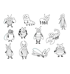 Funny cartoon colorless insect characters vector image