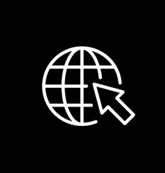 Globe and arrow line outline icon vector