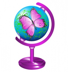 Globe with butterfly vector