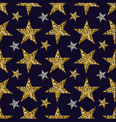 gold and silver stars on blue background vector image
