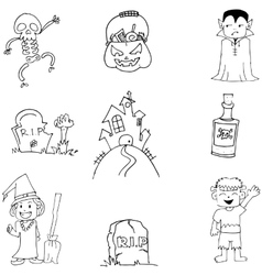 Halloween flat doodle on white backgrounds vector