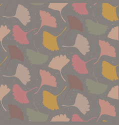 Hand drawn gingko leaves seamless pattern vector